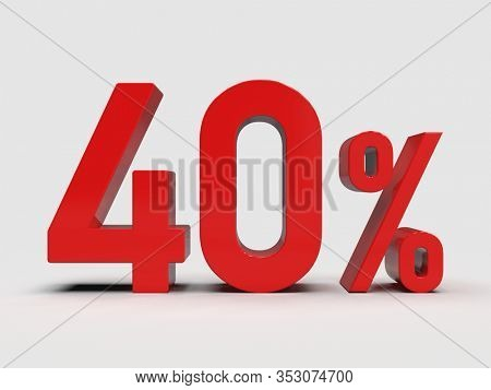 3d Render: Red 40% Percent Discount 3d Sign on Light Background, Special Offer 40% Discount Tag, Sale Up to 40 Percent Off, Forty Percent Letters Sale Symbol, Special Offer Label, Sticker, Tag