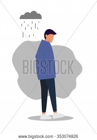 Sad Man. A Young Man Goes Sadly Looking Down. Rain, Clouds, A Sad Look. Vector Illustration