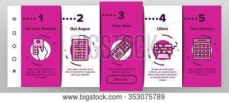 Raffle Gamble Lottery Onboarding Icons Set Vector. Raffle Ticket And Drum, Loto Balls And Money Bag,