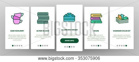 Pile Objects Things Onboarding Icons Set Vector. Pile Of Money Banknotes And Coins, Wood And Cases,