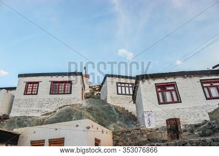 Thiksey, Ladakh, India- Dated:30 July, 2019- Individual Set Of Buildings At Thiksey Monastery In Lad