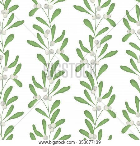 Vector Seamless Pattern With Vertical Mistletoe Branches; White Mistletoe For Fabric, Wallpaper, Pac