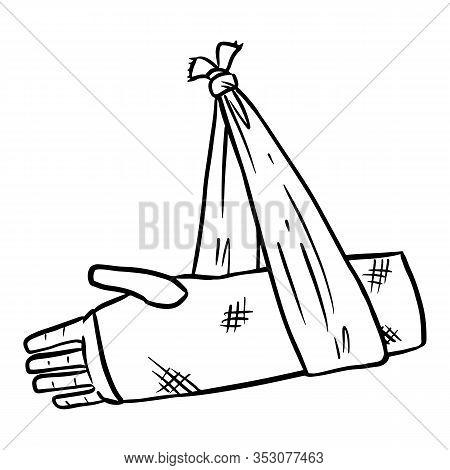 Broken Arm Cast Doodle. Injured Limb In Gypsum Plaster. Media Glyph Graphic Icon