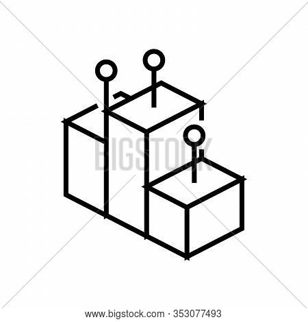 Glory Podium Line Icon, Concept Sign, Outline Vector Illustration, Linear Symbol.