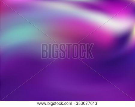 Blurred Hologram Texture Gradient Wallpaper. Glamorous Neon Party Graphics Background. Liquid Colors