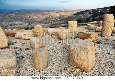 Scenic Aerial View From Biblical Mount Nebo In Jordan With Sunset Light. View From Top Of The Mount