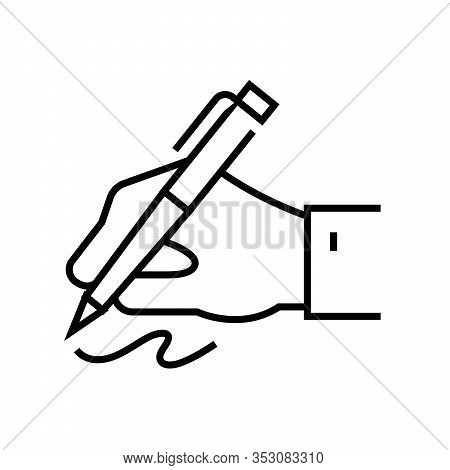 Hand Writing Line Icon, Concept Sign, Outline Vector Illustration, Linear Symbol.