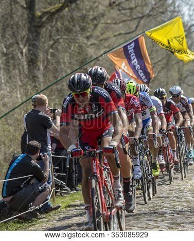 Wallers,france - April 12,2015: The Slovak Cyclist Peter Sagan Of Tinkoff-saxo Team Riding In The Pe
