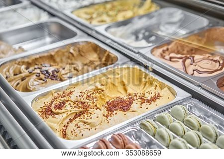 Caramel Gelato. Flavors Various Ice Cream In Rome, Italy. Italian Gelateria. Assortment Of Colorful
