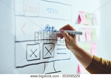 Female Web Developer With Blue Marker Planning Website On Whiteboard