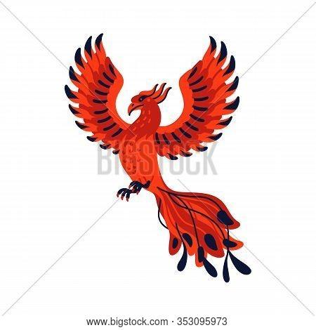 Magical Creatures Set. Mythological Bird - Phoenix. Flat Style Vector Illustration Isolated On White