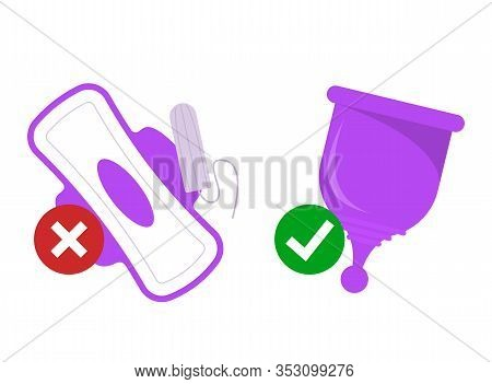 Zero Waste Lifestyle. Replace Tampon And Pad With Menstrual Cup Vector Isolated. Silicone Device For