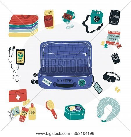 Travel Packing Luggage Fun Vector Set - Empty Suitcase, Clothes And Some Things Like First Aid Kit,