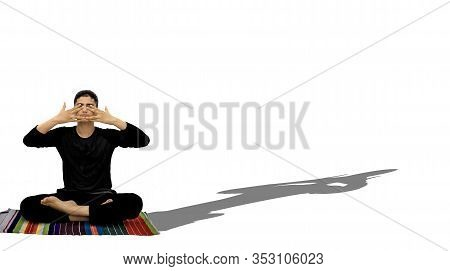 Full Body Shot Of Male Teenager Doing Bhramari Pranayama Or Human Humming Bee Pose Isolated On White
