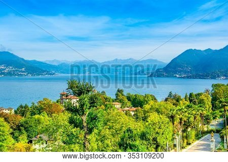 Stresa, Italy - 12 October 2019: Beautiful Autumn Landscape Of Stresa Town On The Shores Of Lake Mag