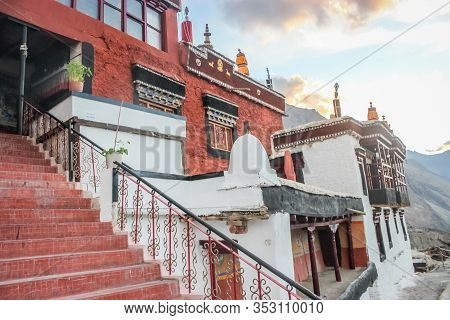 Thiksey, Ladakh, India- Dated:30 July, 2019- Main Gompa Building At Thiksey Monastery In Ladakh