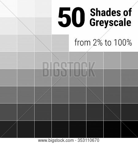 Greyscale Palette. 50 Shades Of Grey. Grey Colors Palette. Color Shade Chart. Vector Illustration.