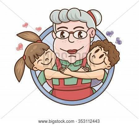 Grandparents Day. Smiling Grandchildren Hugging Their Grandmother. Cartoon Vector Illustration. Hand