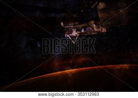 Iss Space Station Walking Earth Planet Orbit. Endless Of Universe. Elements Of This Image Furnished