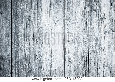 Flaky Wooden Fence Background. Old Wood Texture. Painted Timber Floor, Rustic Natural Grunge Boards,