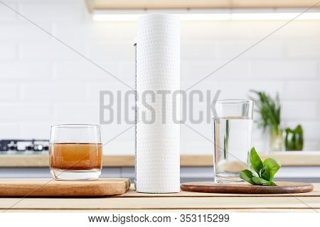 Glasses Of Dirty And Clear Water And Pure Filter Cartridges To Domestic Osmosis Systems . Concept Of