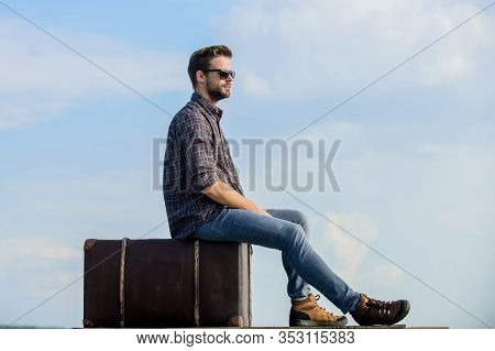 Handsome Guy Traveler. Guy Outdoors With Vintage Suitcase. Luggage Concept. Travel With Luggage. Tra