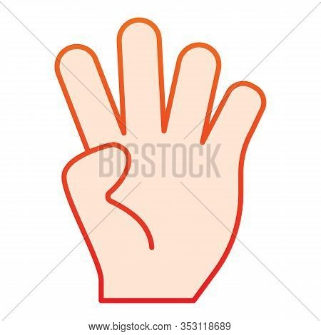 Four Fingers Gesture Flat Icon. Hand With Four Fingers Up Vector Illustration Isolated On White. Han