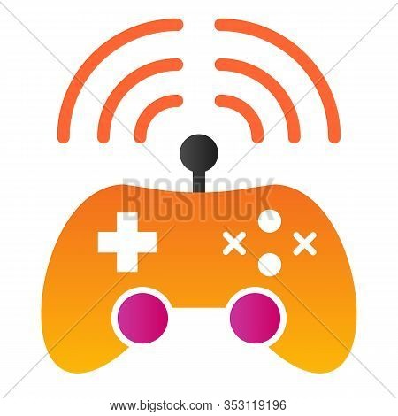 Wireless Game Controller Flat Icon. Joypad Vector Illustration Isolated On White. Game Console Gradi