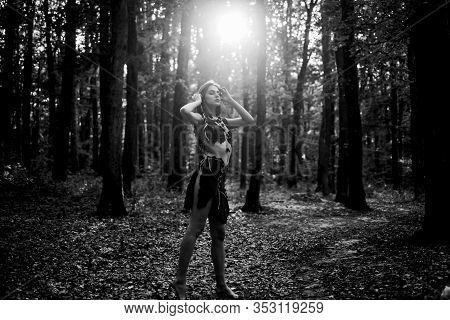 Wilderness Of Virgin Woods. Female Spirit Mythology. She Belongs Tribe Warrior Women. Wild Attractiv