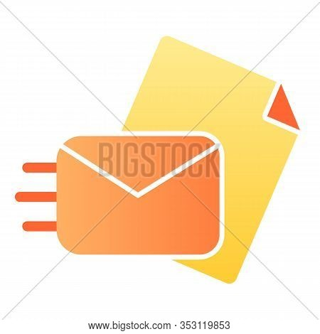 Sending Mail Flat Icon. Sending A Letter Vector Illustration Isolated On White. Envelope With Paper