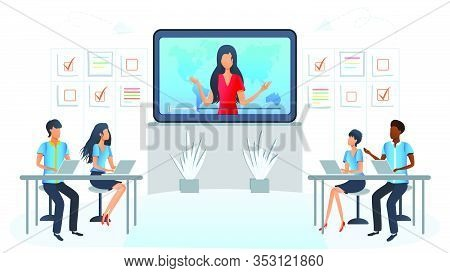 Vector Illustration Of Online Business Training, Workshop, Presentation, Courses. Team At Video Conf