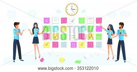 Vector Modern Illustration Of Workshop Training. Business People Meeting. Training Of Office Staff,