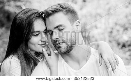 Attractive Couple. Sexual Attraction. Relaxing With Darling. Lovers Cuddling. Couple In Love. Trust