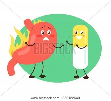 Stomach And Pill On The Background. Heartburn. Vector Illustration.