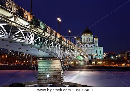 Orthodox church of Christ the Savior at night Moscow