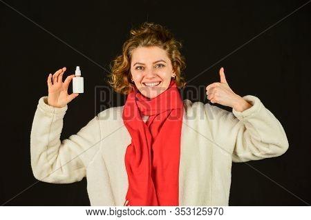 Acute Respiratory Viral. Sick Woman With Nasal Spray. Influenza Infection And Pneumonia. Coronavirus