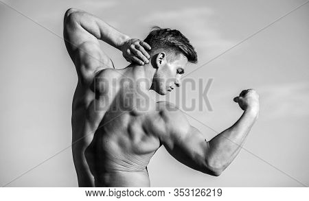 Muscles After Extreme Workout. Bodybuilding. Sport And Health Activity. Divine Beauty. Muscular Heal