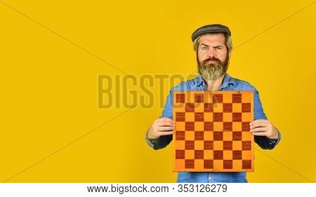 Board Game. Thoughtful Bearded Man Play Chess. Chess Figure. Intellectual Game. Enjoy Tournament. Gr