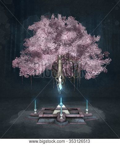 Enchanted Pink Tree On A Dark Background - 3d Illustration