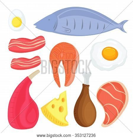 Set Of Food For Keto Diet. Fish, Meat, Eggs. Salmon Steak. Pork, Chicken, Slices Of Bacon. Piece Of