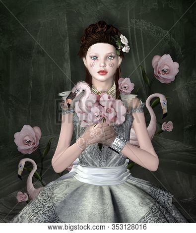 Young Girl With Surreal Gothic Bouquet On A Black Forest Background - 3d Illustration