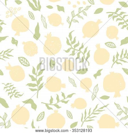 Pomegranate Seamless Pattern With Leaves.