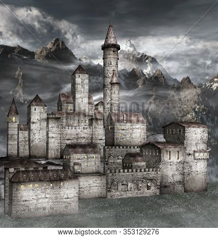 View Of An Antique Stronghold In The Misty Mountains - 3d Illustration