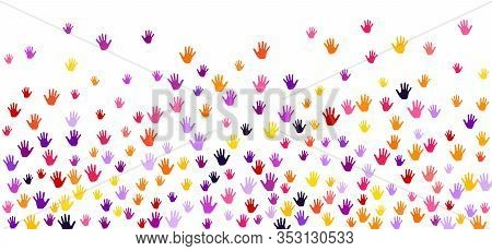Colorful Hands Group Art Therapy Vector Illustration. Hands In Paint Of Yellow Pink Violet Orange Pu