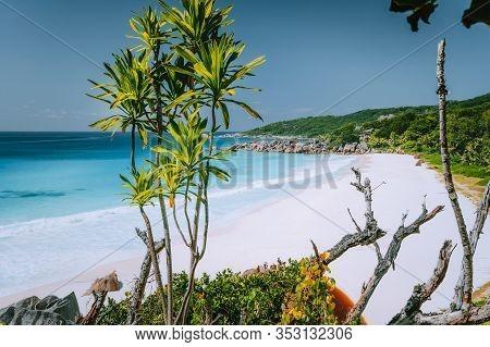 Vacation Holiday At Petite Anse Paradise Beach In Summer Season . La Digue Island, Seychelles