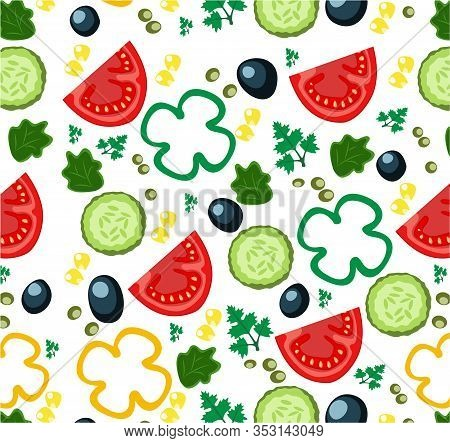 Vegetable Pattern - Vector Illustration. Set Of Slice Vegetables For Salad. Ripe Slices Of Tomato An