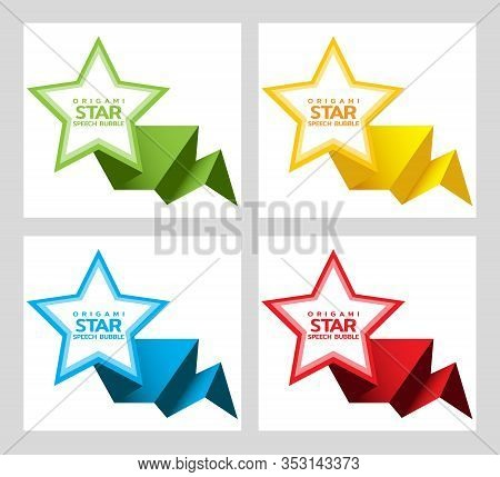 Set Of Origami Star Speech Bubble Isolated On White For Design Of Advertisement Label, Sticker, Disc