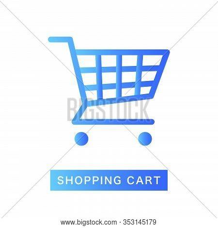 Flat Blue Shopping Cart Icon, Gradient Color Shop Goods Trolley Product Element, Elegant Digital E-c