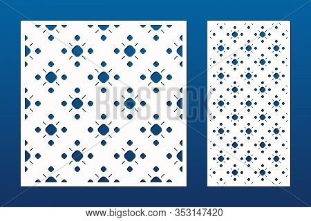 Laser Cutting Decorative Panel. Cutout Silhouette With Abstract Geometric Pattern, Dots, Circles, Fl