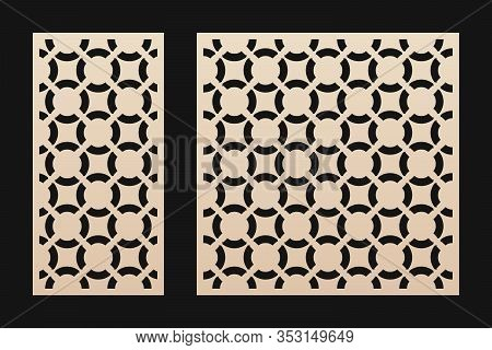 Laser Cut Panel. Elegant Vector Template With Abstract Geometric Pattern, Circular Grid Ornament. De